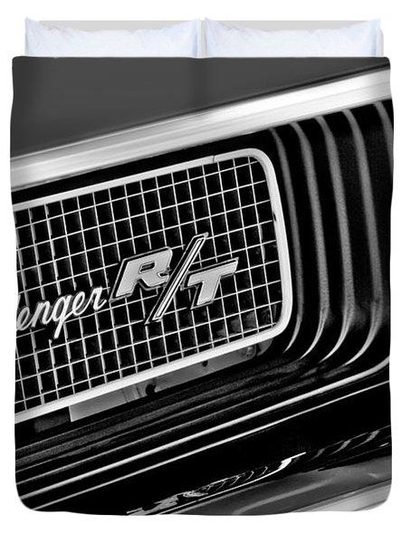Dodge Challenger Rt Grille Emblem Duvet Cover by Jill Reger