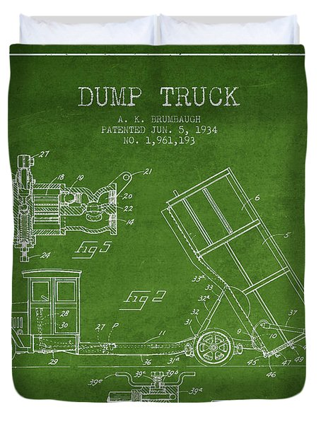 Dump Truck Patent Drawing From 1934 Duvet Cover by Aged Pixel