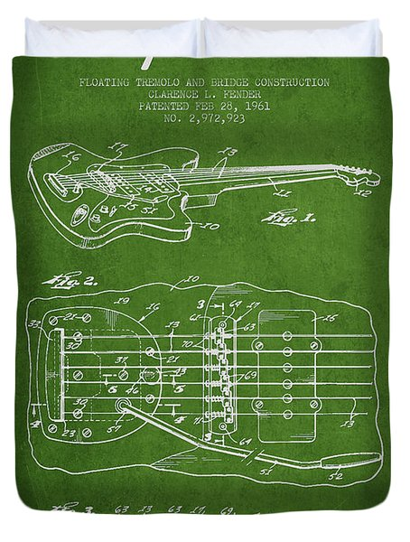 Fender Floating Tremolo patent Drawing from 1961 - Green Duvet Cover by Aged Pixel