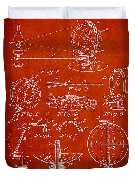 Folding School Globe Patent Drawing From 1887 Duvet Cover by Aged Pixel