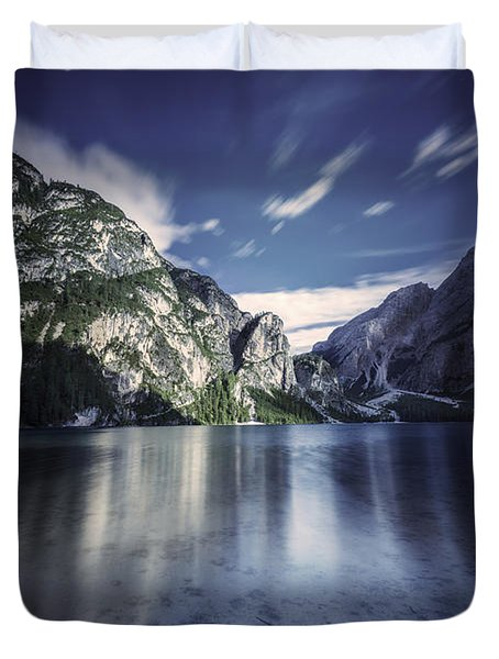 Lake Braies And Dolomite Alps, Northern Duvet Cover by Evgeny Kuklev