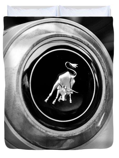 Lamborghini Steering Wheel Emblem Duvet Cover by Jill Reger