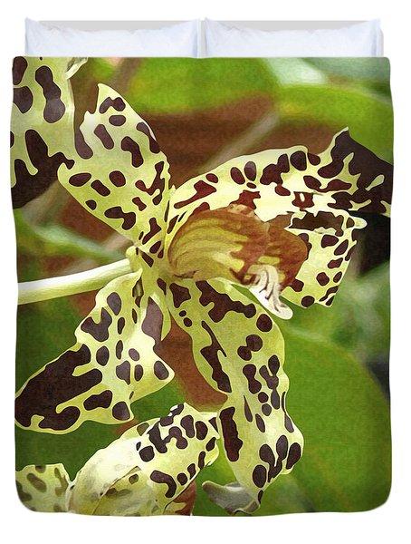 Leopard Orchids Duvet Cover by Ellen Henneke
