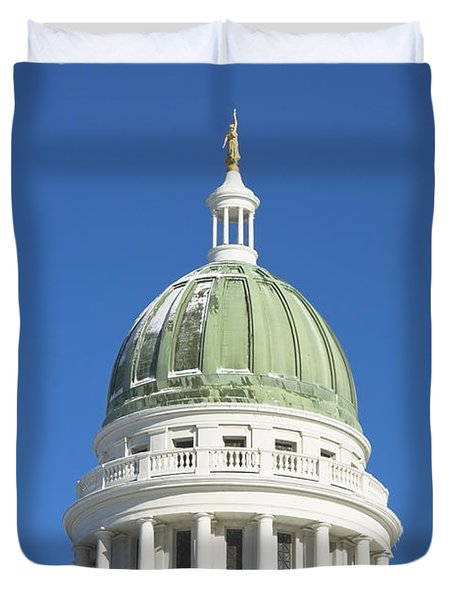 Maine State Capitol Building In Augusta Duvet Cover by Keith Webber Jr