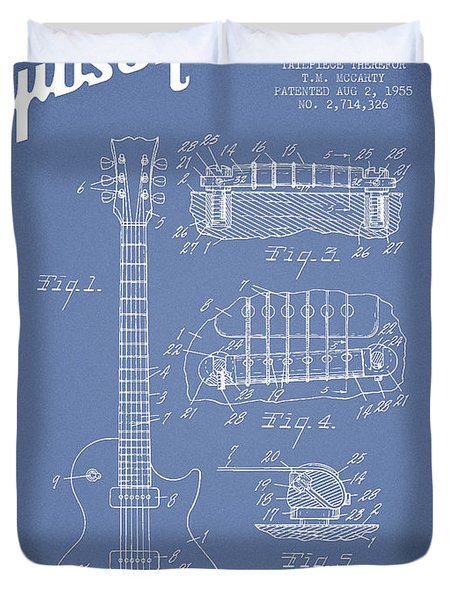 Mccarty Gibson Les Paul guitar patent Drawing from 1955 - Light Blue Duvet Cover by Aged Pixel