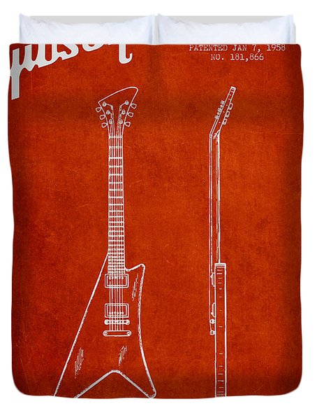 McCarty Gibson stringed instrument patent Drawing from 1958 - Red Duvet Cover by Aged Pixel