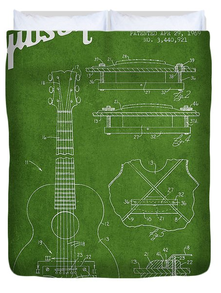 Mccarty Gibson stringed instrument patent Drawing from 1969 - Green Duvet Cover by Aged Pixel
