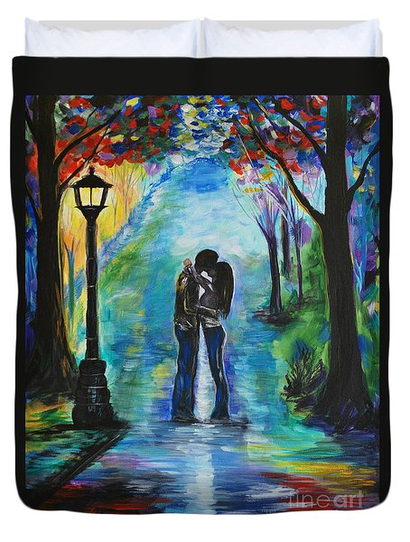 Moonlight Kiss Duvet Cover by Leslie Allen