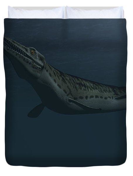 Mosasaur Swimming In Prehistoric Waters Duvet Cover by Kostyantyn Ivanyshen