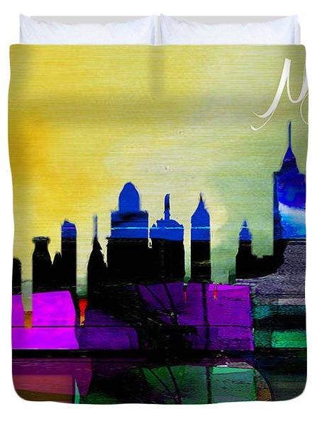 New York Skyline Watercolor Duvet Cover by Marvin Blaine