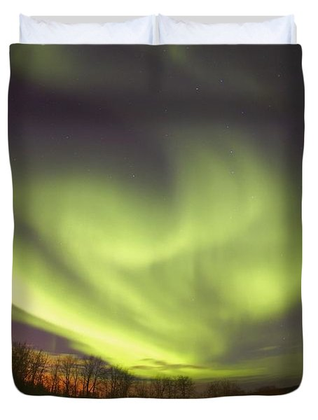 Northern Lights, Edmonton, Alberta Duvet Cover by Carson Ganci