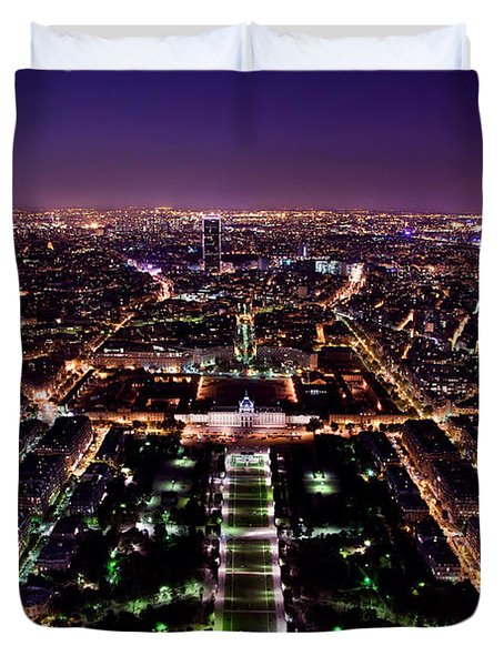 Paris Panorama France At Night Duvet Cover by Michal Bednarek