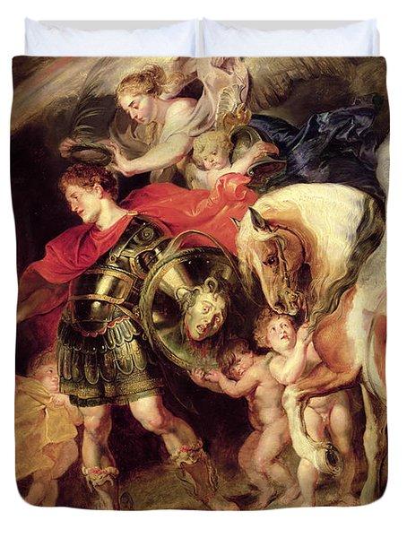 Perseus Liberating Andromeda Duvet Cover by Peter Paul Rubens