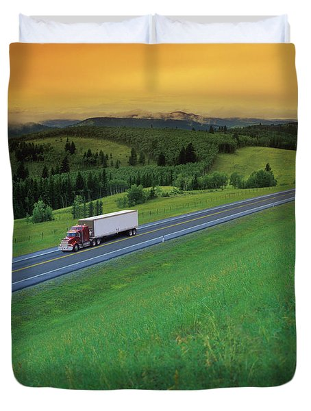 Semi-trailer Truck Duvet Cover by Don Hammond