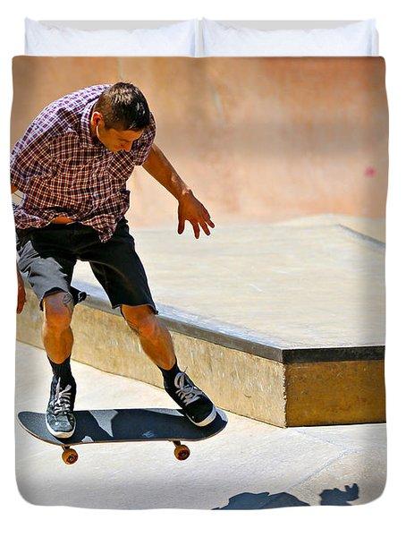 Skateboarding Duvet Cover by Paul Fell
