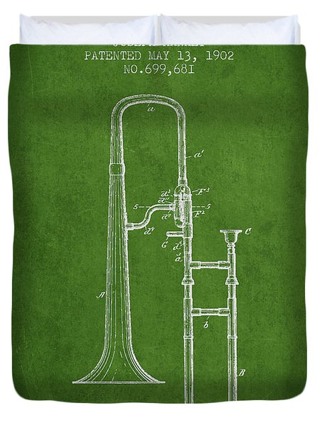 Trombone Patent From 1902 - Green Duvet Cover by Aged Pixel