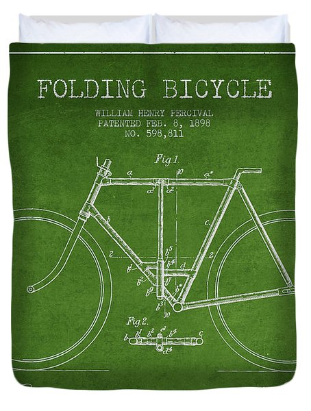 Vintage Folding Bicycle Patent From 1898 Duvet Cover by Aged Pixel