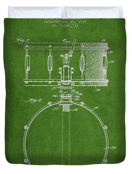 Snare Drum Patent Drawing From 1939 - Green Duvet Cover by Aged Pixel