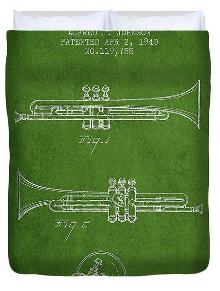 Vintage Trumpet Patent From 1940 - Green Duvet Cover by Aged Pixel