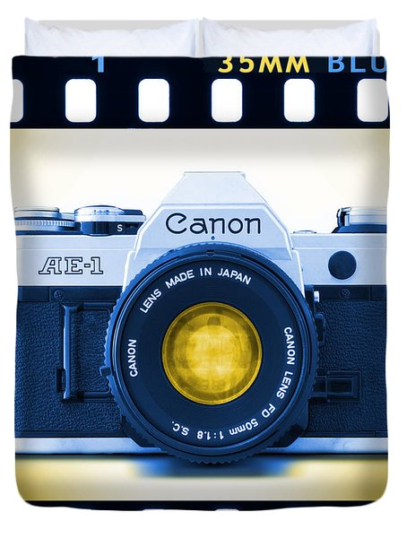 35mm Blues Canon Ae-1 Duvet Cover by Mike McGlothlen