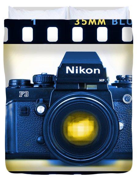 35mm BLUES Nikon F-3hp Duvet Cover by Mike McGlothlen