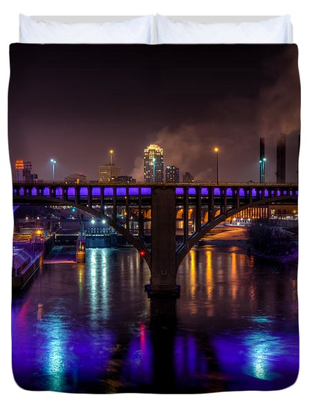 35W Bridge in Vikings Purple Duvet Cover by Mark Goodman