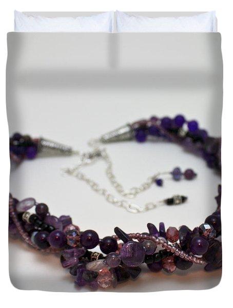 3607 Multi Strand Adjustable Amethyst Necklace Duvet Cover by Teresa Mucha