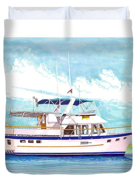 37 foot Marine Trader 37 Trawler yacht at anchor Duvet Cover by Jack Pumphrey