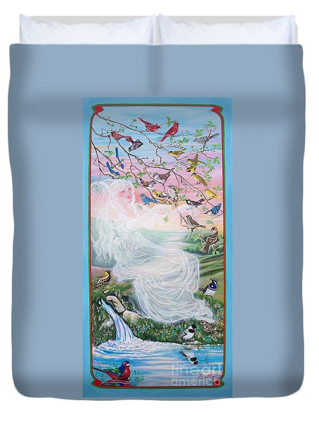 380  Whistling Angel And Birds Duvet Cover by Sigrid Tune