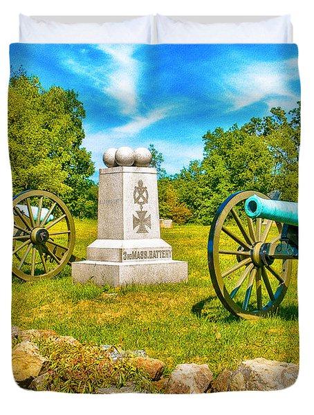 3rd Massachusetts Battery Gettysburg National Military Park Duvet Cover by Bob and Nadine Johnston