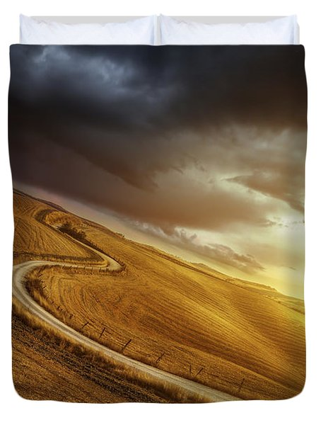 A Country Road In Field At Sunset Duvet Cover by Evgeny Kuklev