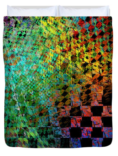 Abstract Checkered Pattern Fractal Flame Duvet Cover by Keith Webber Jr