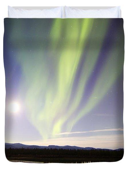 Aurora Borealis And Full Moon Duvet Cover by Joseph Bradley