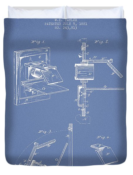 Camera Obscura Patent Drawing From 1881 Duvet Cover by Aged Pixel