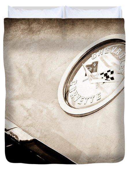 Chevrolet Corvette Hood Emblem Duvet Cover by Jill Reger