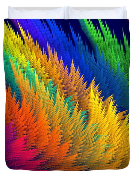 Computer Generated Abstract Fractal Flame Duvet Cover by Keith Webber Jr