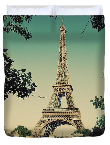 Eiffel Tower And Bridge On Seine River In Paris Duvet Cover by Michal Bednarek