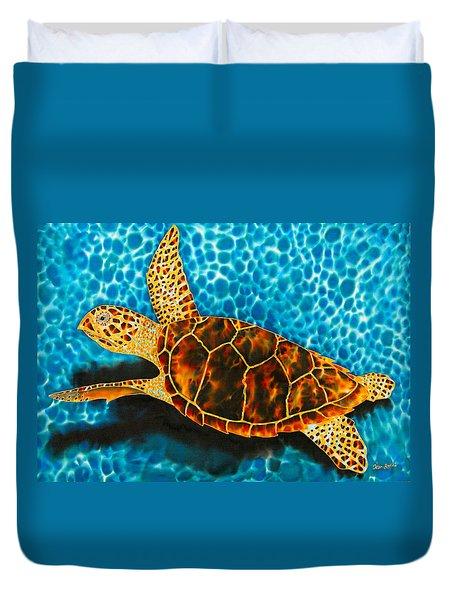 Green Sea Turtle Duvet Cover by Daniel Jean-Baptiste