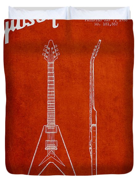 Mccarty Gibson Electric guitar patent Drawing from 1958 - Red Duvet Cover by Aged Pixel