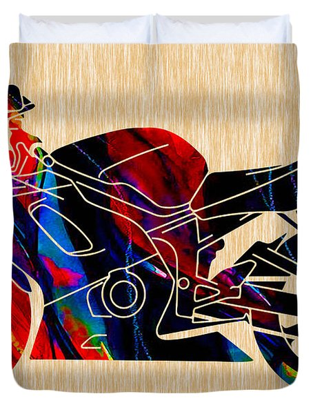 Ninja Motorcycle Painting Duvet Cover by Marvin Blaine