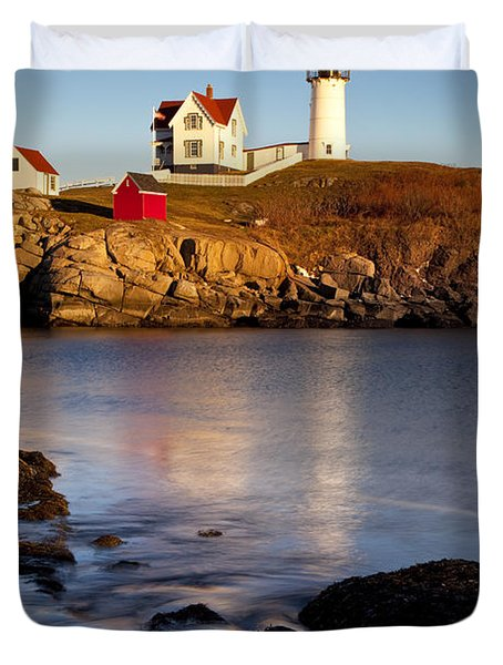 Nubble Lighthouse Duvet Cover by Brian Jannsen