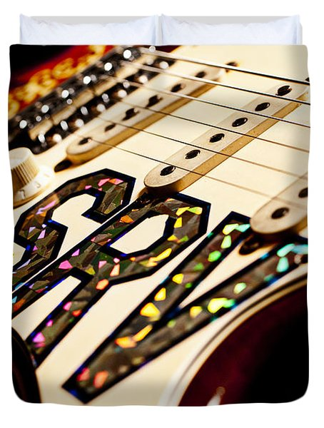 Replica Stevie Ray Vaughn Electric Guitar Artistic Duvet Cover by Jani Bryson