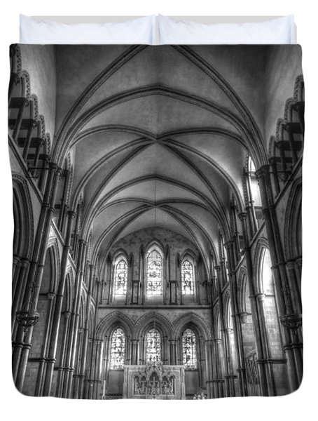 Rochester Cathedral Interior Hdr. Duvet Cover by David French