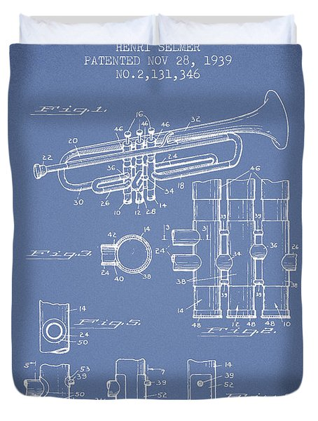 Trumpet Patent From 1939 - Light Blue Duvet Cover by Aged Pixel