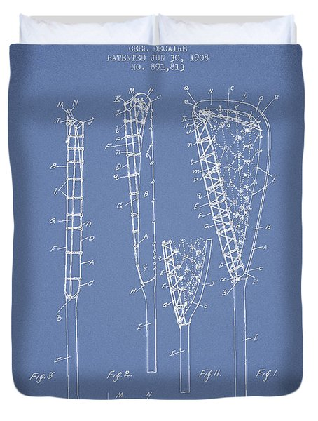 Vintage Lacrosse Stick Patent from 1908 Duvet Cover by Aged Pixel