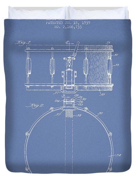 Snare Drum Patent Drawing from 1939 - Light Blue Duvet Cover by Aged Pixel