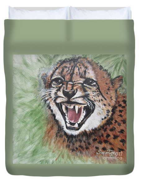 420 Growling Baby Cheetah Duvet Cover by Sigrid Tune