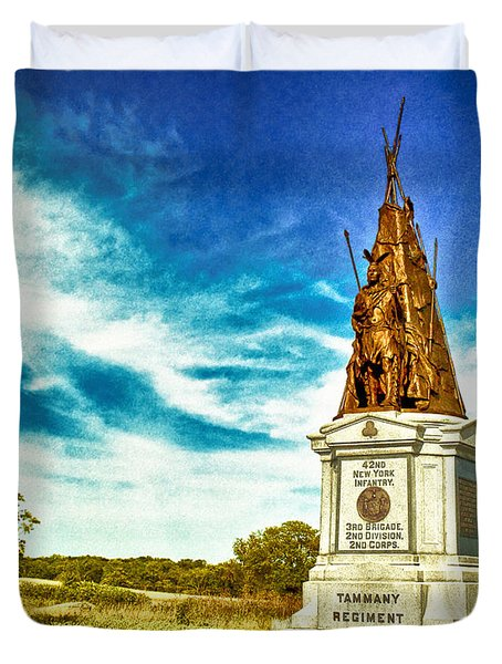 42nd New York Infantry Memorial Gettysburg Battleground Duvet Cover by Bob and Nadine Johnston