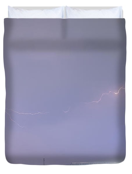 47 Street Lightning Storm Light Trails View Panorama 1 Duvet Cover by James BO  Insogna