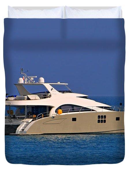 Antibes - Superyachts Of Billionaires Duvet Cover by Christine Till